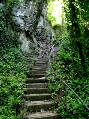 Steps up to the Devil's Chimney, Bonchurch Undercliff